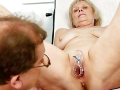 older old brigita getting bawdy cleft exam from