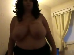 big beautiful woman dancing with her breasts