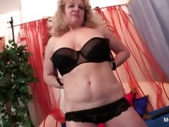 bushy sexy older stripping and finger teasing her