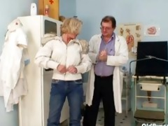 blonde multiple squirting during a gyno checkup