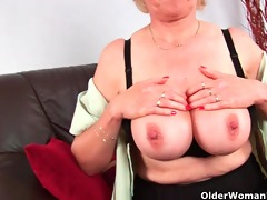 granny with large breasts finger copulates her