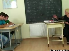 two men team fuck wicked old teacher