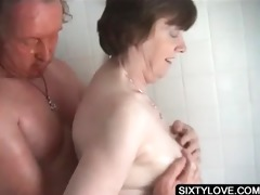 aged receives cum-hole washed in shower