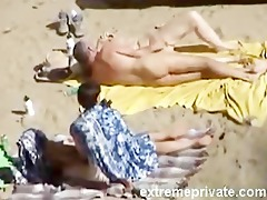 spying my aunt and mommy on the naked beach