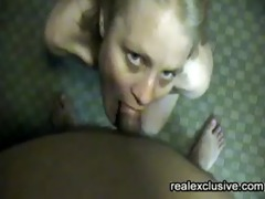spunk fountain on face and in eye of my blond wife
