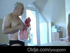 old rich older man bonks his juvenile dummy maid