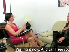 aged woman fucking on leather sofa