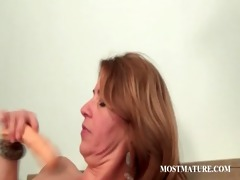older golden-haired works fur pie with sex-toy