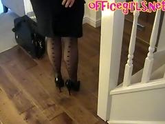 large pantoons older secretary in nylons