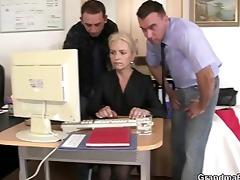 mates fuck granny at work