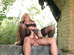 blond granny gangbanged hard outdoors by biggest