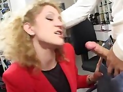 stylish lengthy legged office milf in action