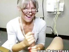 hawt older lady receives on her knees to jerk